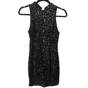 NWOT, Black Lace Dress with Lace-Up Back - Size S